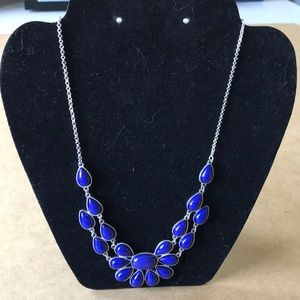 Purple/blue teardrop bead necklace